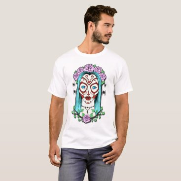 Halloween Themed Day Of The Dead Sugar Skull T-Shirt