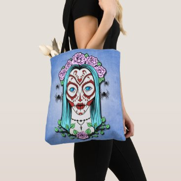 Halloween Themed Day Of The Dead Sugar Skull Tote Bag