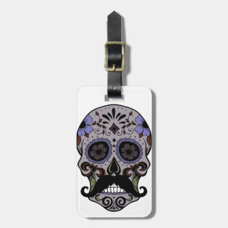 Day of the Dead Sugar Skull w/Mustache Bag Tag