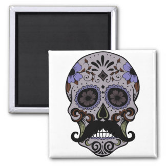 Day of the Dead Sugar Skull w/Mustache 2 Inch Square Magnet