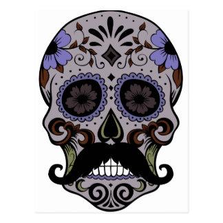 Day of the Dead Sugar Skull w/Mustache Postcard