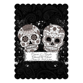 Day Of The Dead Sugar Skull Wedding Or Party Event 5x7 Paper Invitation Card
