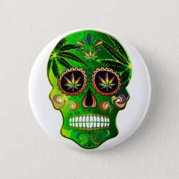 Day of the Dead Sugar Skull weed Shirt Button