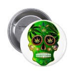 Day of the Dead Sugar Skull weed Shirt 2 Inch Round Button