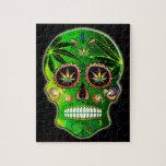 """Day of the Dead Sugar Skull weed Shirt Jigsaw Puzzle<br><div class=""""desc"""">This super cool Day of the Dead sugar skull t-shirt features a highly-detailed,  vibrantly colored,  funky and psychedelic sugar skull inspired by Mexico&#39;s Dia de los Muertos,  or Day of the Dead,  created by international artist,  T&#39;sao.</div>"""