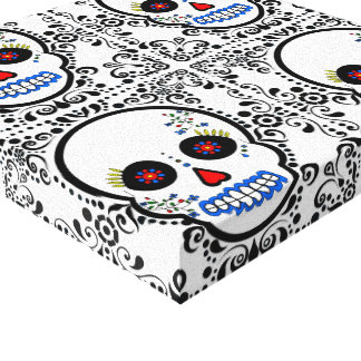 Day of the Dead Sugar Skull - White and Black Canvas Print