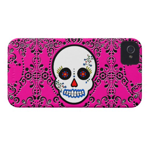 Day of the Dead Sugar Skull - White and Pink Case-Mate iPhone 4 Case