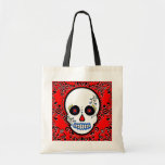 Day of the Dead Sugar Skull - White and Red Canvas Bags
