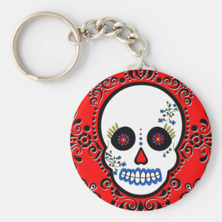 Day of the Dead Sugar Skull - White and Red Basic Round Button Keychain