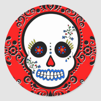 Day of the Dead Sugar Skull - White and Red Classic Round Sticker