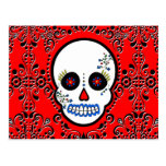 Day of the Dead Sugar Skull - White and Red Postcards