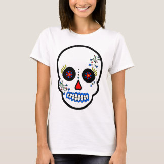 Day of the Dead Sugar Skull - White and Red T-Shirt