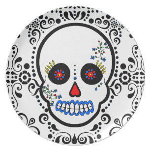 Day of the Dead Sugar Skull - White / Black Dinner Plate  sc 1 st  Zazzle & Día De Los Muertos Plates | Zazzle