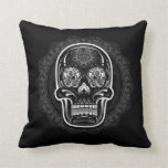 Day of the Dead Sugar Skull White Throw Pillows