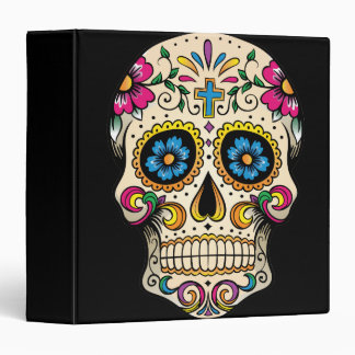 Day of the Dead Sugar Skull with Cross 3 Ring Binder