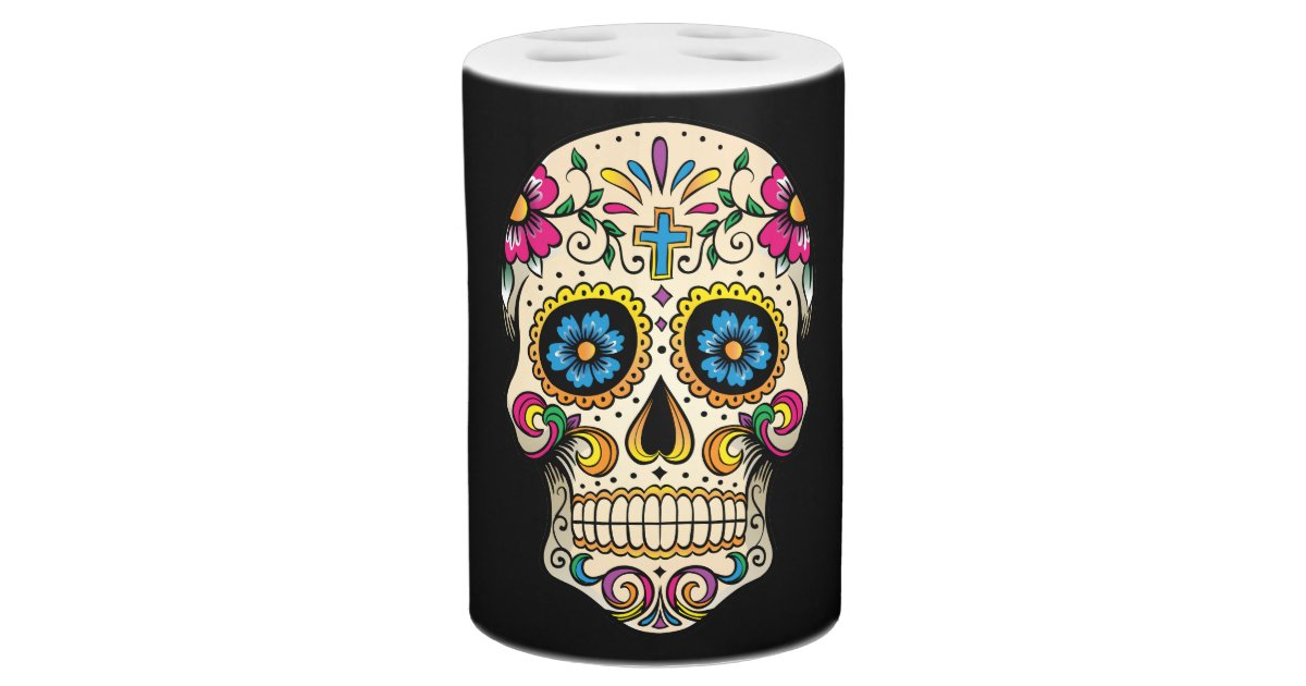 day of the dead sugar skull with cross bathroom set zazzle. Black Bedroom Furniture Sets. Home Design Ideas