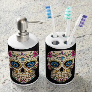 Bon Day Of The Dead Sugar Skull With Cross Bathroom Set