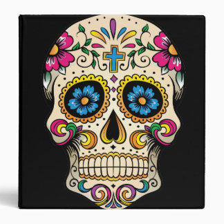 Day of the Dead Sugar Skull with Cross 3 Ring Binders