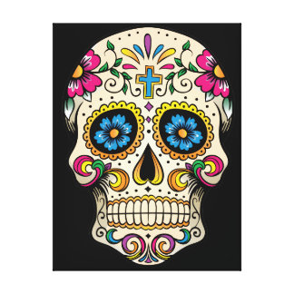 Day of the Dead Sugar Skull with Cross Canvas Print