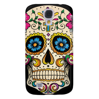 Day of the Dead Sugar Skull with Cross Galaxy S4 Cases