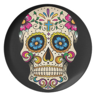 Day of the Dead Sugar Skull with Cross Dinner Plate