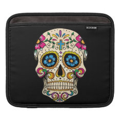 Day Of The Dead Sugar Skull With Cross Ipad Sleeve at Zazzle