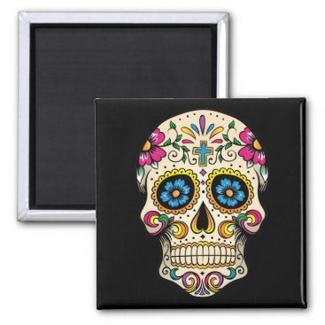 BlackBrookMagnetsEtc Day of the Dead Sugar Skull with Cross Magnet