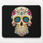 """Day of the Dead Sugar Skull with Cross Mouse Pad<br><div class=""""desc"""">w/Cross, w/Rose, Blue, Pink Sugar skulls are very trendy! A colorful day of the dead sugar skull with pretty flowery details. Gothic spooky skeleton imagery. Great urban art. Customize by adding text and/or changing the background color. Day of the dead vector image extended license from Fotolia.com - &#169; tairygreene -...</div>"""