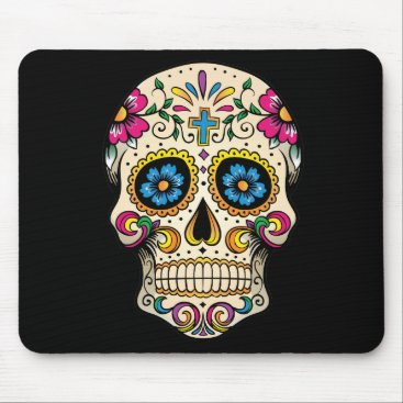 BlackBrookOffice Day of the Dead Sugar Skull with Cross Mouse Pad