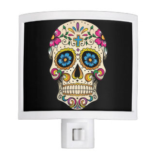 Day of the Dead Sugar Skull with Cross Night Light