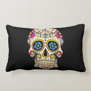 BlackBrookPillows Day of the Dead Sugar Skull with Cross Pillow