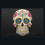 """Day of the Dead Sugar Skull with Cross Placemat<br><div class=""""desc"""">Sugar skulls are very trendy!  A colorful day of the dead sugar skull with pretty flowery details.  Gothic spooky skeleton imagery.  Great urban art.  Customize by adding text and/or changing the background color.     Day of the dead vector image extended license from Fotolia.com - &#169; tairygreene - Fotolia.com.</div>"""