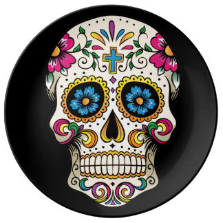 Day of the Dead Sugar Skull with Cross Plate