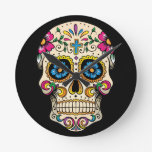 Day of the Dead Sugar Skull with Cross Round Clock