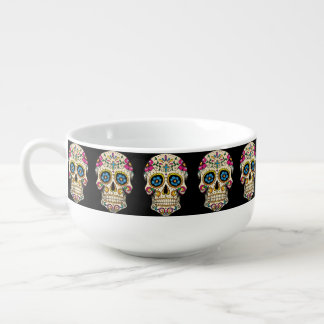 Day of the Dead Sugar Skull with Cross Soup Mug