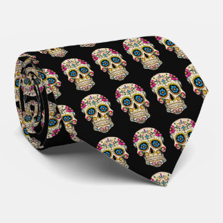 Day of the Dead Sugar Skull with Cross Tie