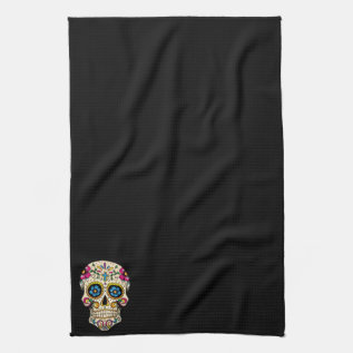 Day Of The Dead Sugar Skull With Cross Towel at Zazzle