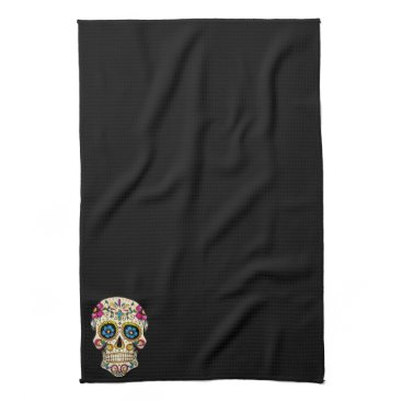 BlackBrookDining Day of the Dead Sugar Skull with Cross Towel
