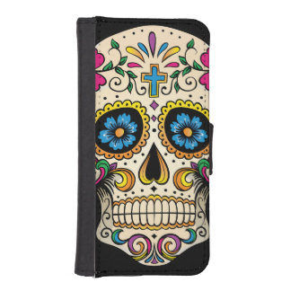 Day of the Dead Sugar Skull with Cross Wallet Phone Case For iPhone SE/5/5s
