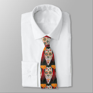 Day of the Dead Sugar Skull with Hearts Neck Tie