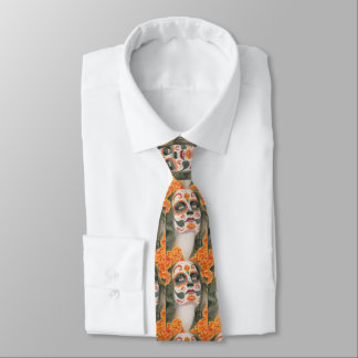 Day of the Dead Sugar Skull with Marigolds Neck Tie