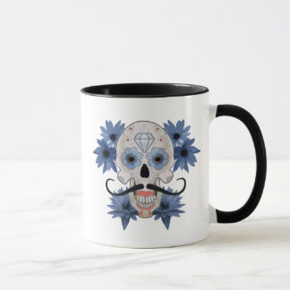 Day of the Dead Sugar Skull with Mustache mug