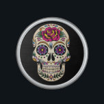 """Day of the Dead Sugar Skull with Rose Bluetooth Speaker<br><div class=""""desc"""">Sugar skulls are very trendy!  A colorful day of the dead sugar skull with pretty flowery details.  Gothic spooky skeleton imagery.  Great urban art.  Customize by adding text and/or changing the background color.     Day of the dead vector image extended license from Fotolia.com - &#169; tairygreene - Fotolia.com.</div>"""