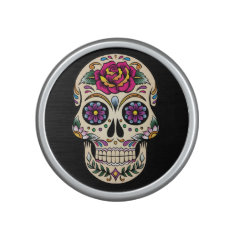 Day Of The Dead Sugar Skull With Rose Bluetooth Speaker at Zazzle