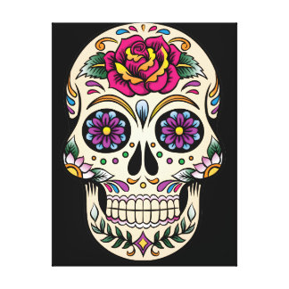 Day of the Dead Sugar Skull with Rose Canvas Print