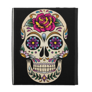 Day of the Dead Sugar Skull with Rose iPad Folio Cases
