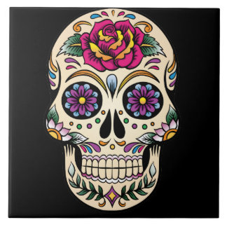 Day of the Dead Sugar Skull with Rose Ceramic Tile