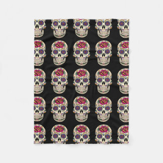 Day of the Dead Sugar Skull with Rose Fleece Blanket