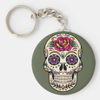 Day of the Dead Sugar Skull with Rose Keychain