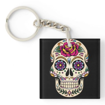 BlackBrookKeychains Day of the Dead Sugar Skull with Rose Keychain